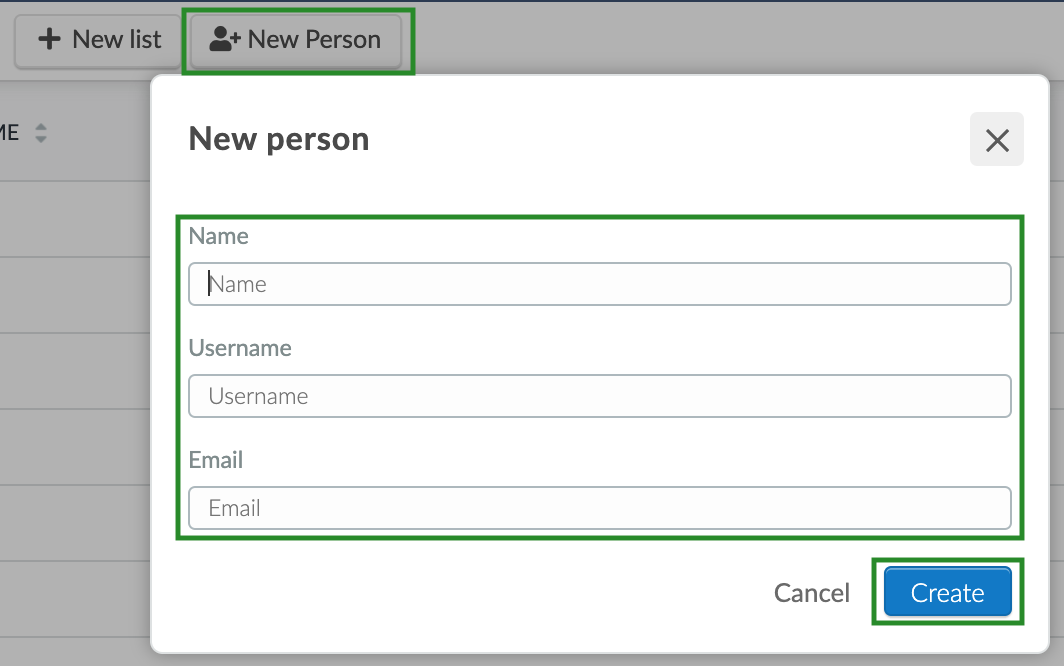 Screenshot of the steps to add a new person to a list