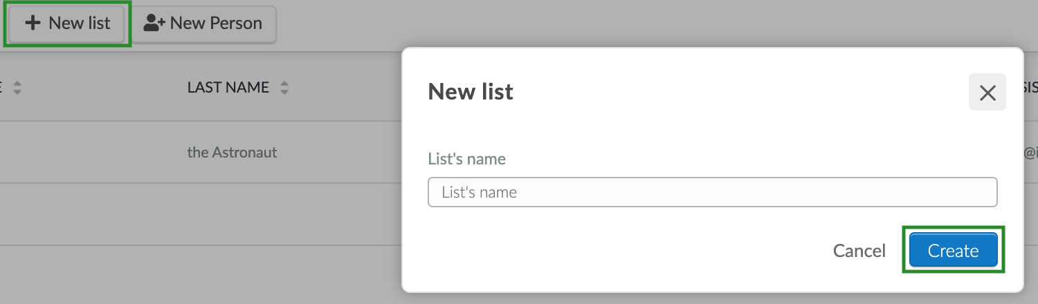 Screenshot of the steps to create a new list
