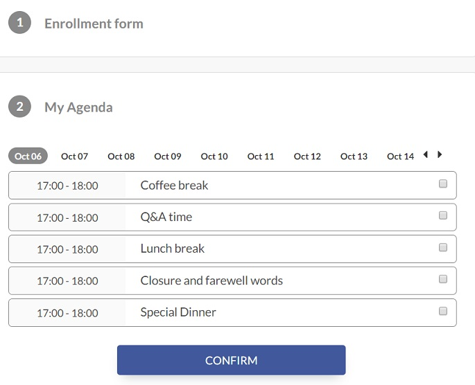 Screenshot of steps  to choose the activity via registration form> click here