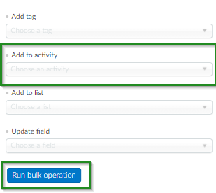 Screenshot of steps to add attendees to an activity >Run Bulk Operation > Run