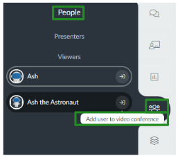 """Screenshot of the """"Add user to video conference"""" button under the people tab."""