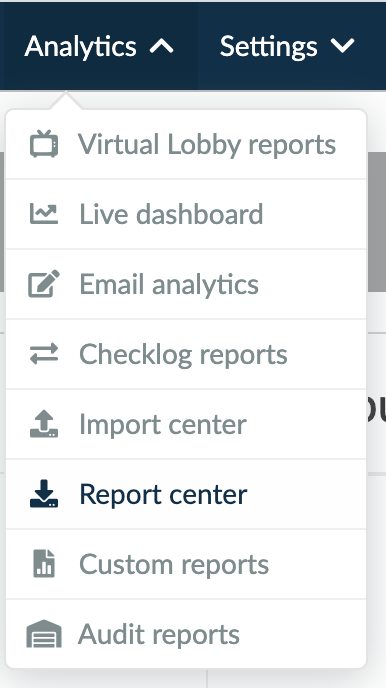 Screenshot of the steps Analytics > Report Center