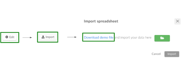 Screenshot of the steps Edit > Import > Download demo file