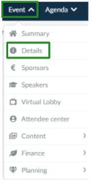 Screenshot of the steps Event > Details