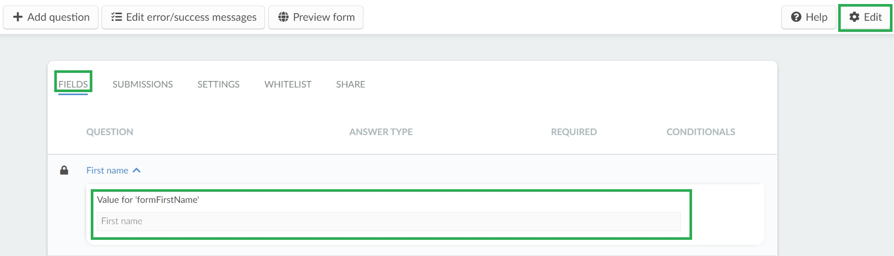 Editing default questions