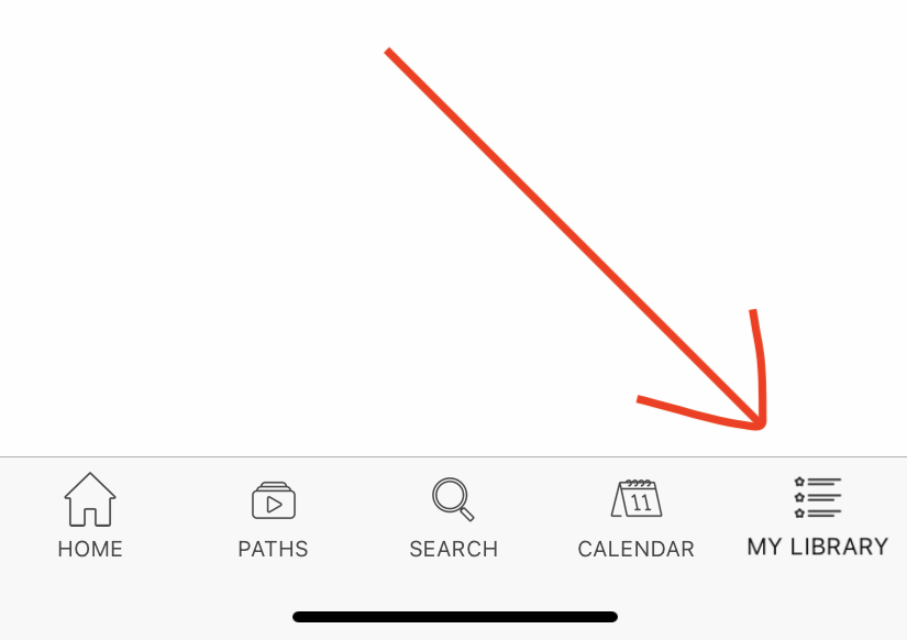 Video page in app showing downloads in My Library.
