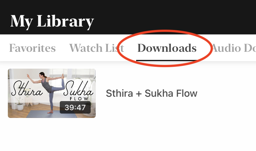 Video page in app showing downloads section in My Library.