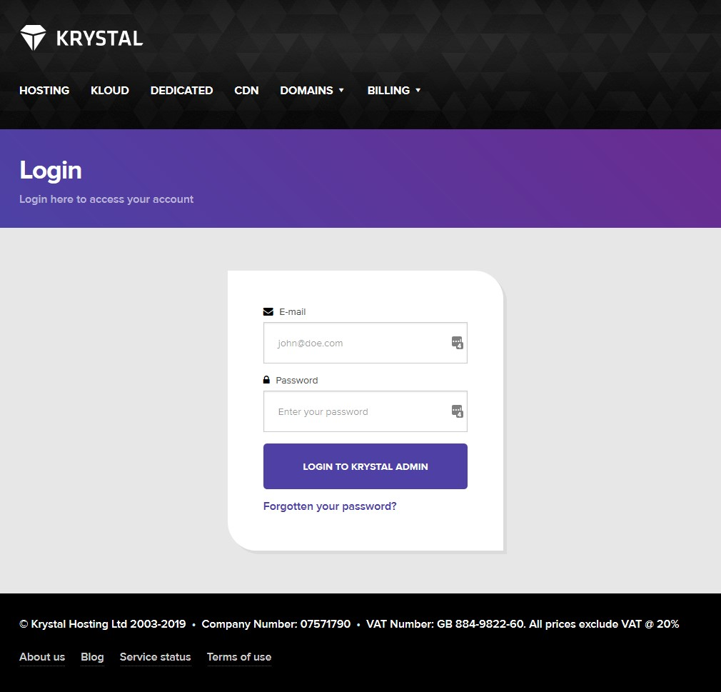 Krystal client area login screenshot