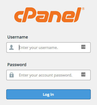 cpanel login screenshot