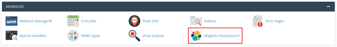 cPanel, section advanced, select elastic search