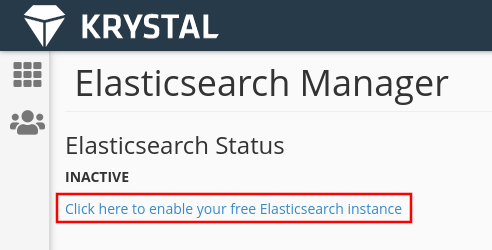 elastic search manager, select the link to request an instance