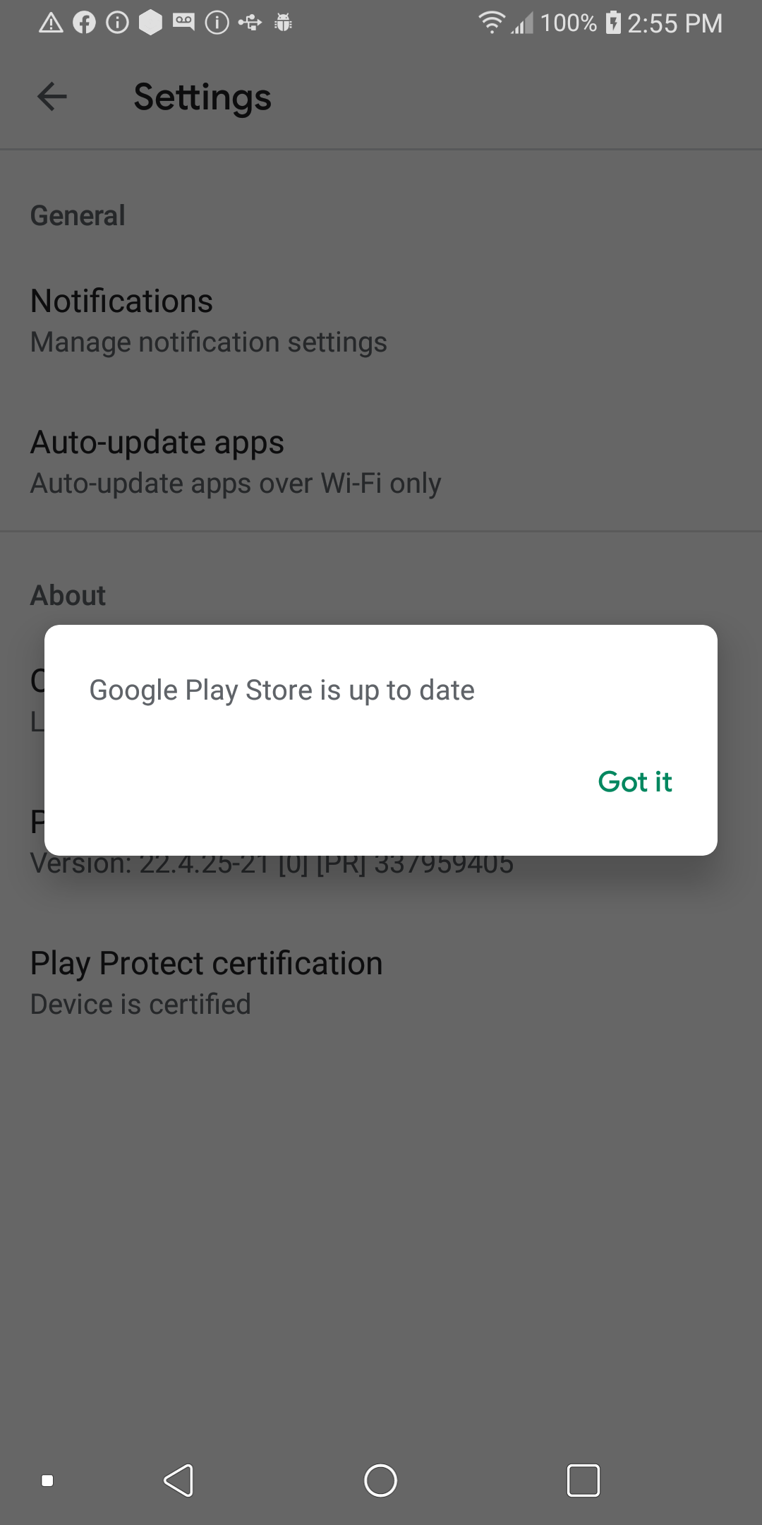 Google play store up to date confirmation