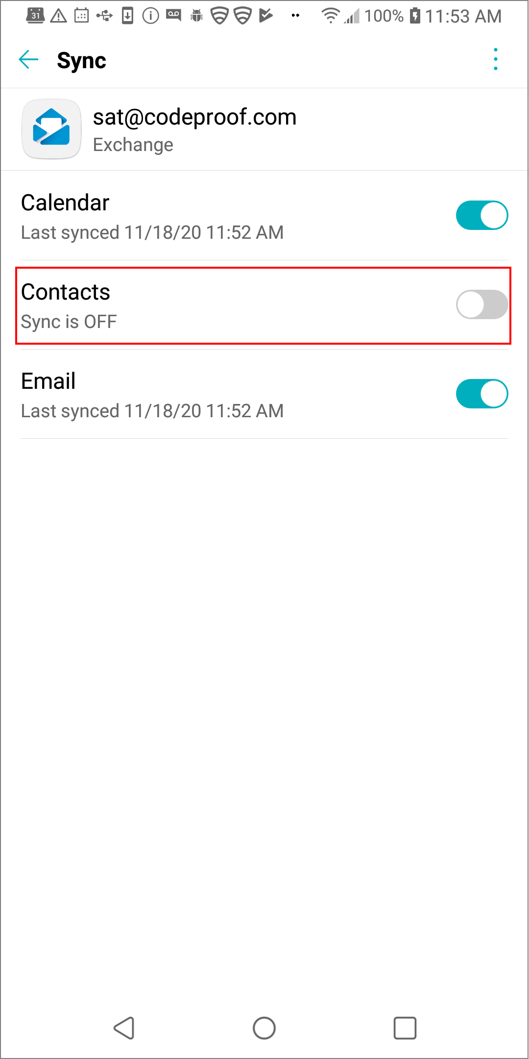 Disable or Enable Email Account Sync Options in Android