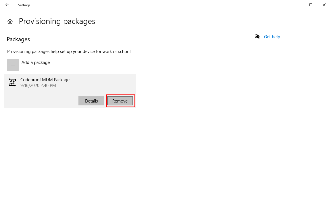 Remove Windows 10 MDM provisioning package