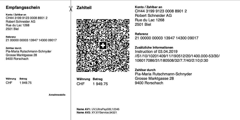 Beispielbild eines Swiss QR Barcodes