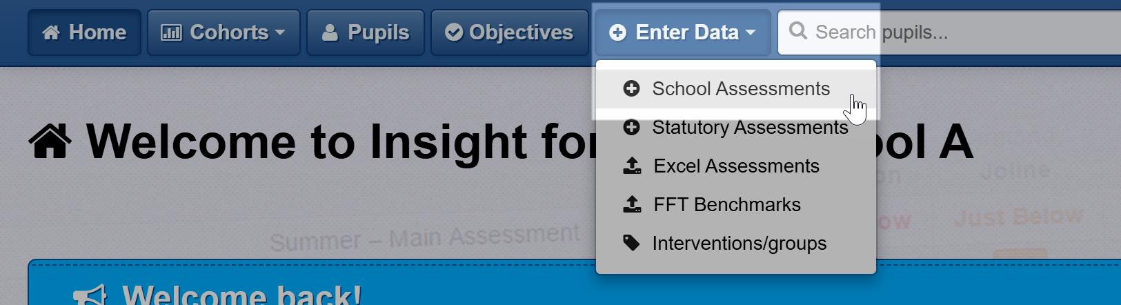 Navigate to Enter Data > School Assessments