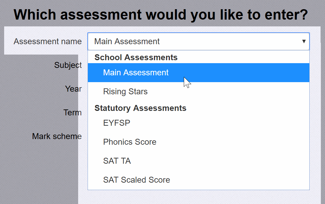 Choose an Assessment Name