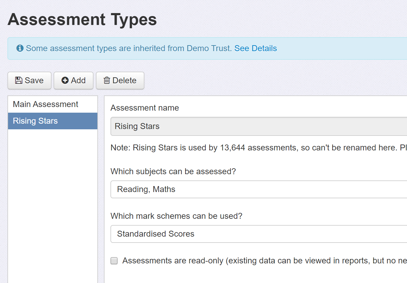 Assessment Types example