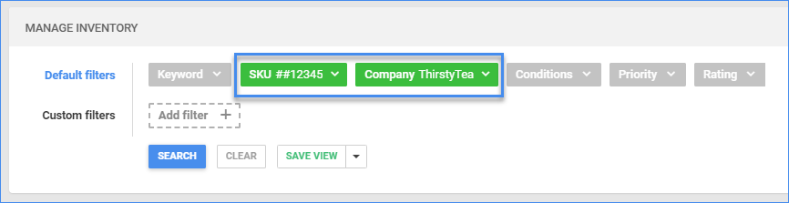 sellercloud manage inventory page default filters turn green
