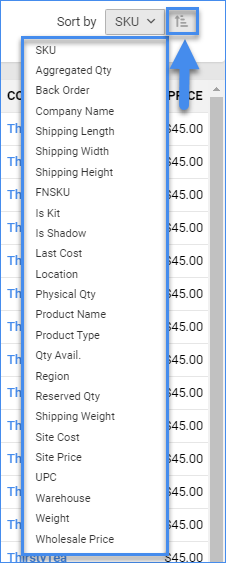 sellercloud manage inventory page sort by