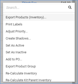 sellercloud manage inventory page action menu