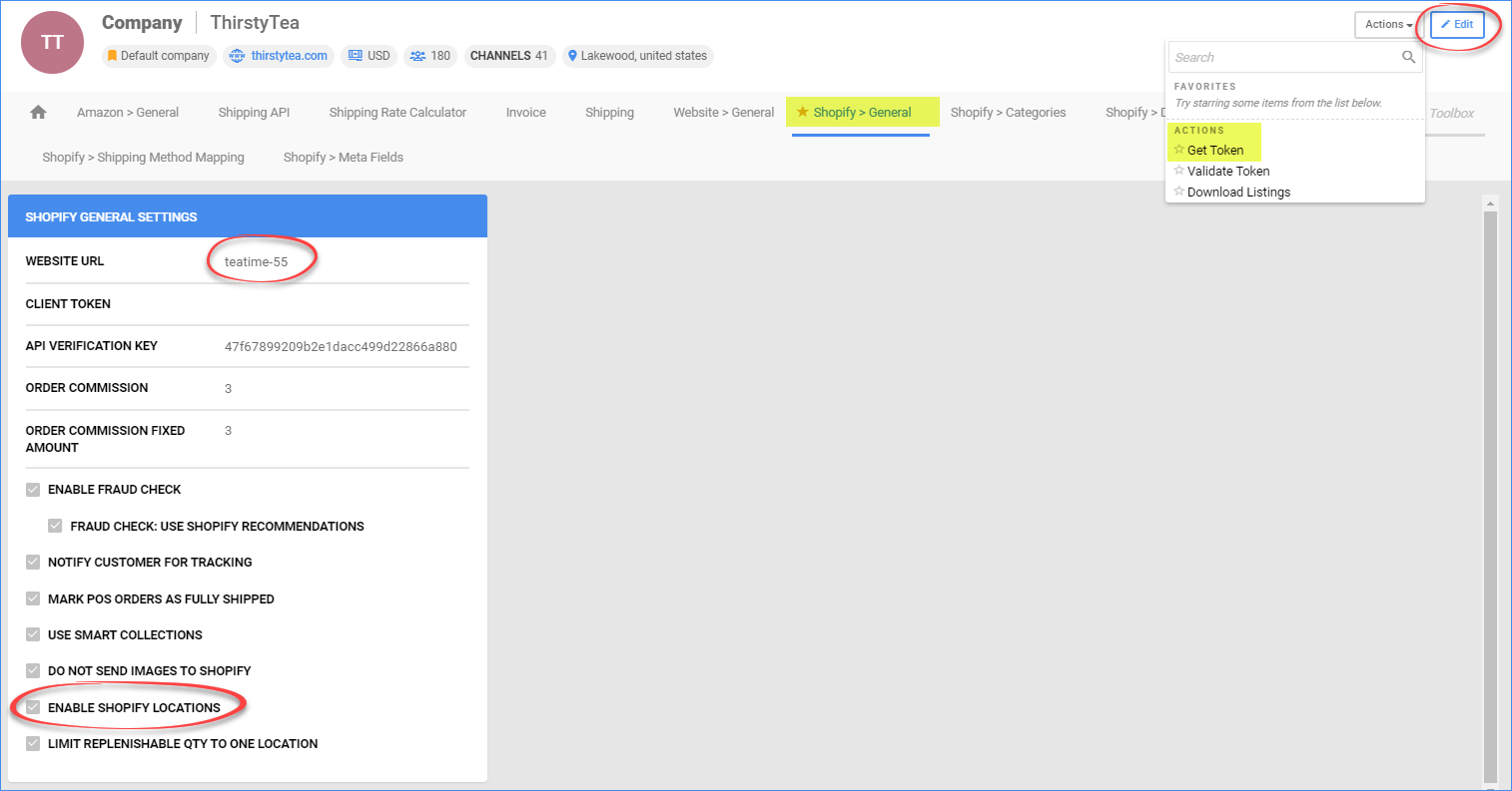 sellercloud shopify general settings