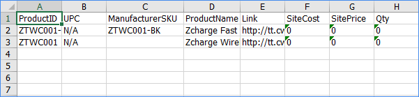 sellercoud export product information general excel example