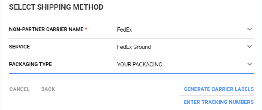 Create your carrier's shipping labels or enter tracking numbers