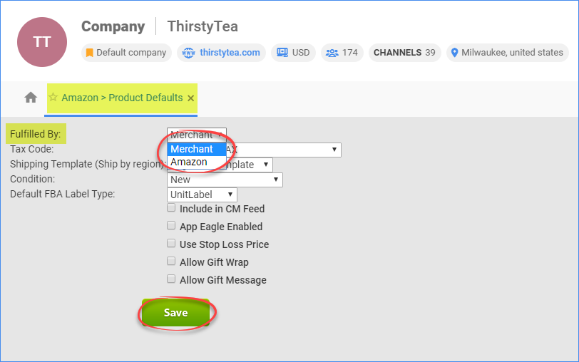 Choose the company-wide default fulfillment method for all products