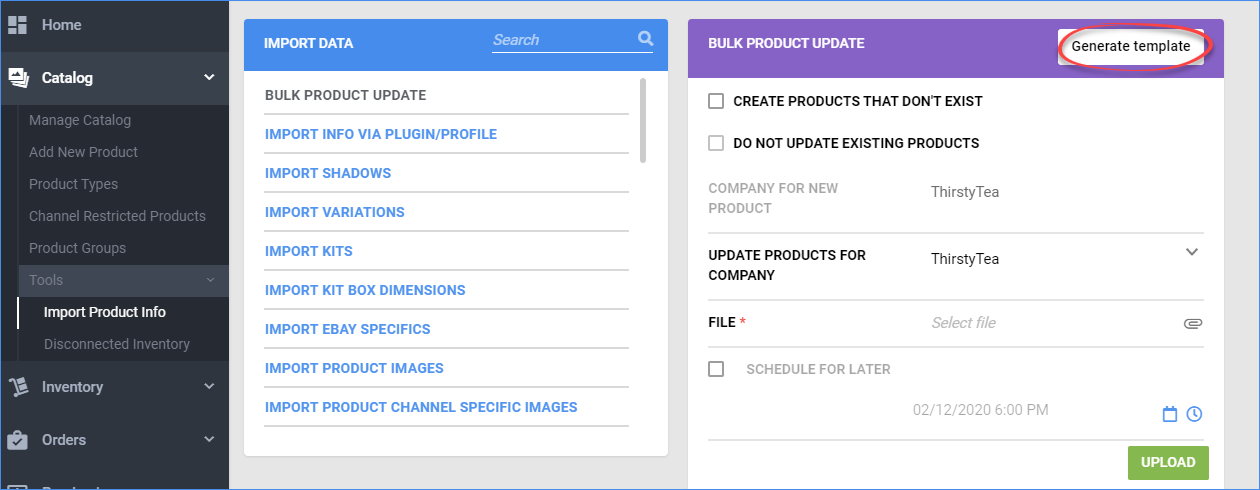 Click the Generate Template button to access the bulk upload template function