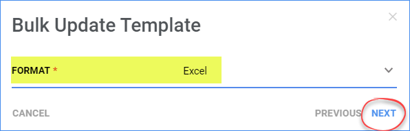 Choose the file format for a new bulk-update template