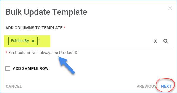 Add columns to a new bulk-update template