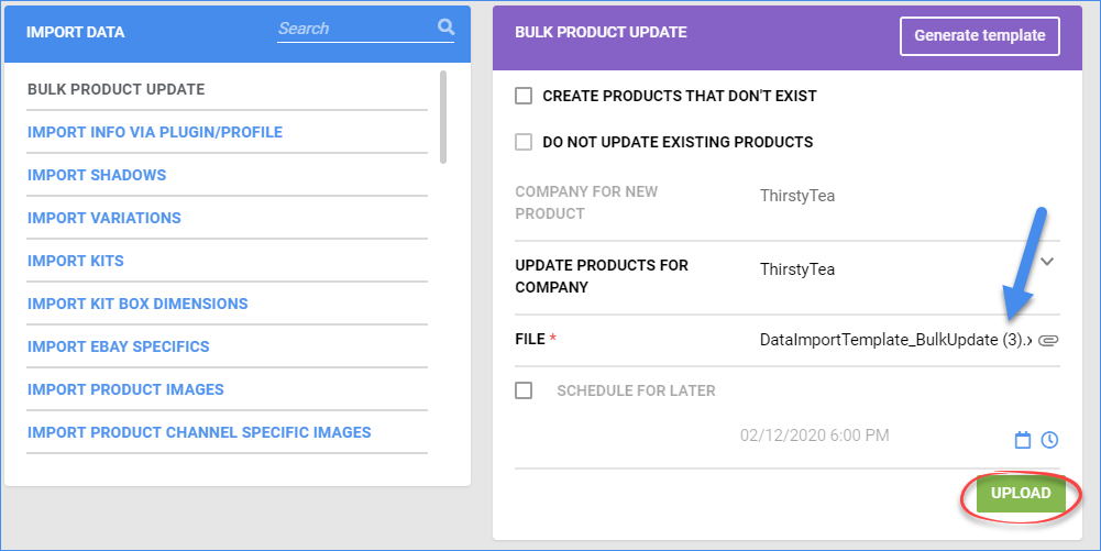 Select the populated bulk-update template file and upload it