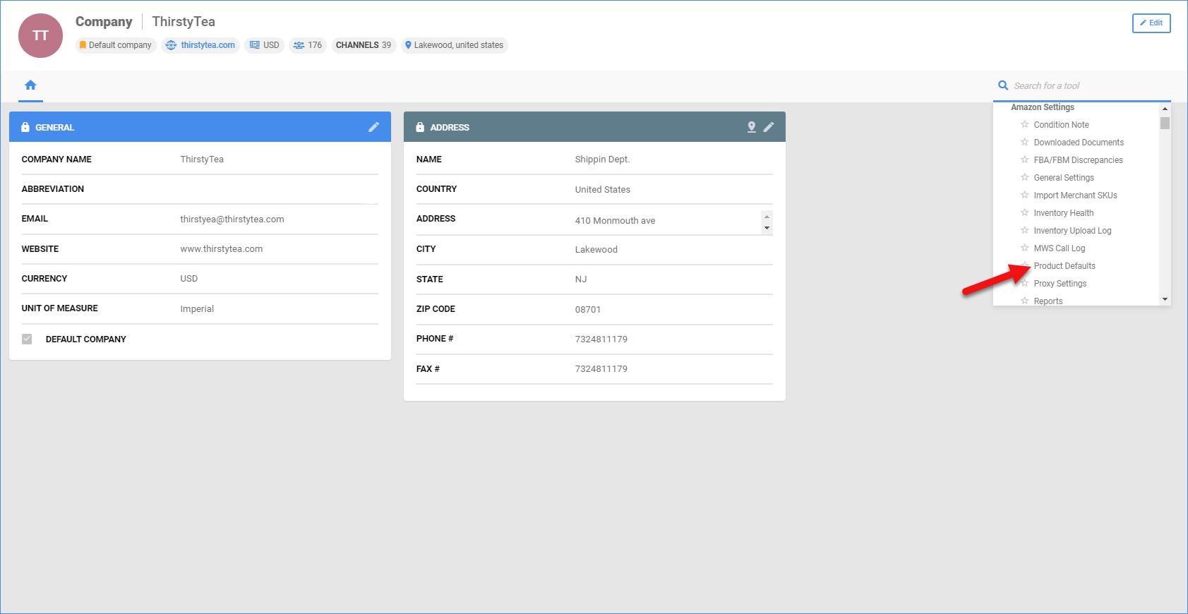 sellercloud company amazon settings product defaults