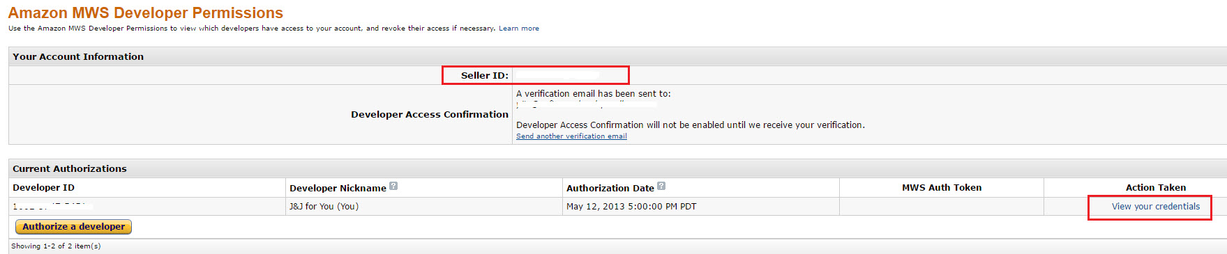 On Amazon MWS Developer Permissions page, click View Your Credentials to get your MWS credentials
