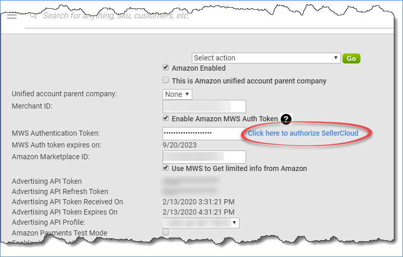 Amazon Settings' Click here to authorize SellerCloud link