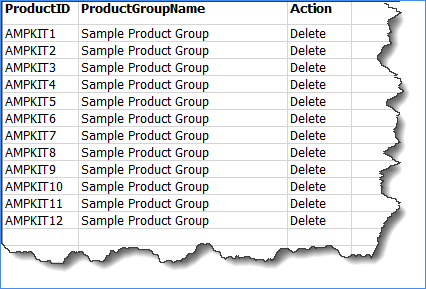 Use this template to delete products in bulk from a product group