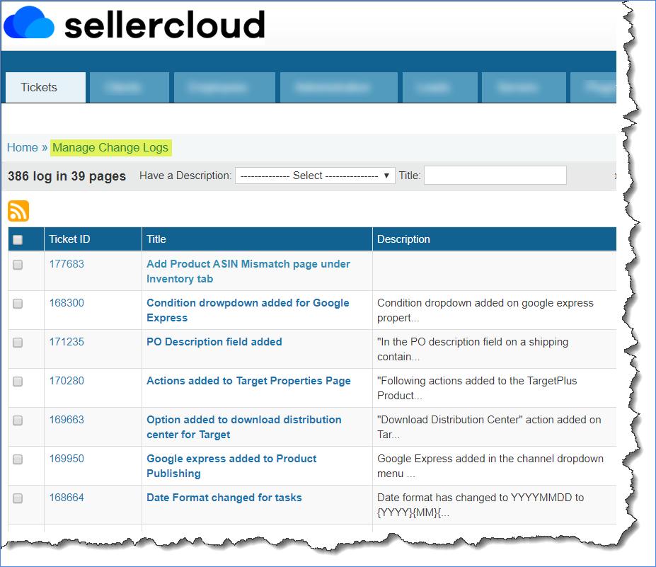 sellercloud change log