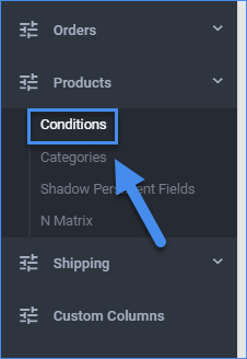 sellercloud product conditions navigation