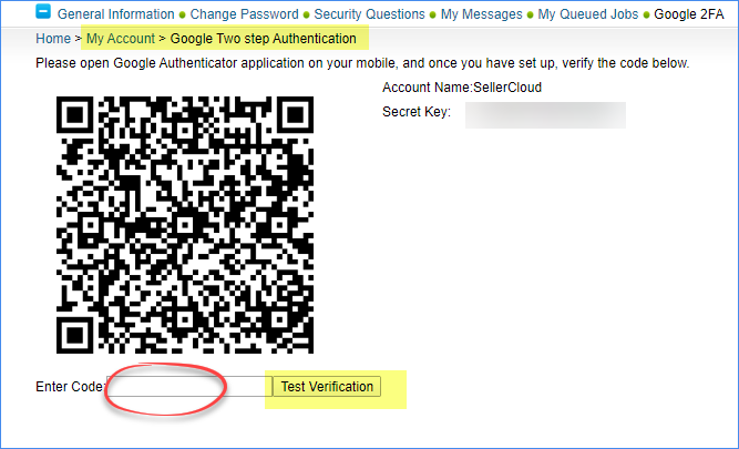 Alpha - scan the QR code and type it into the Enter Code field