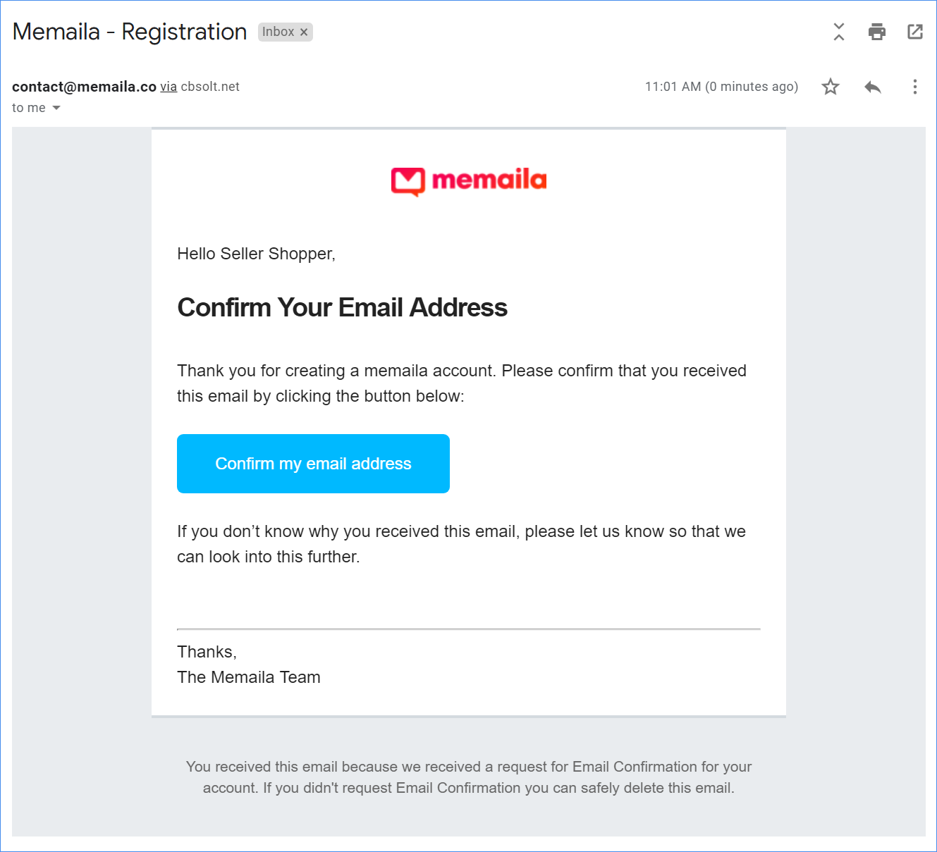 Confirm your email address from the Memaila setup email