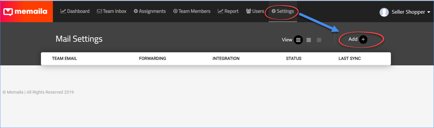 Memaila settings page