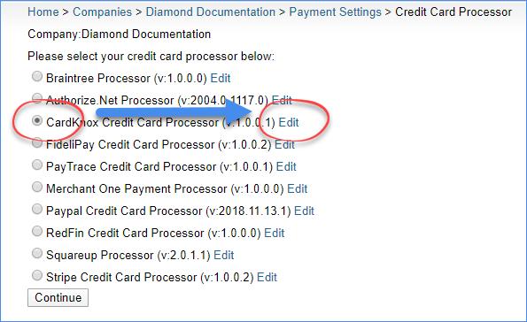 sellercloud select cardknox credit card processor in original interface