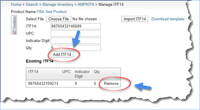 sellercloud add or remove itf14 barcodes