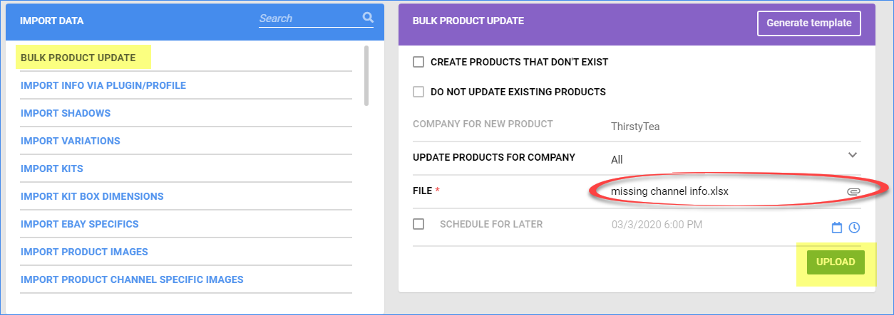 Click the Upload button to import the missing channel information into the products