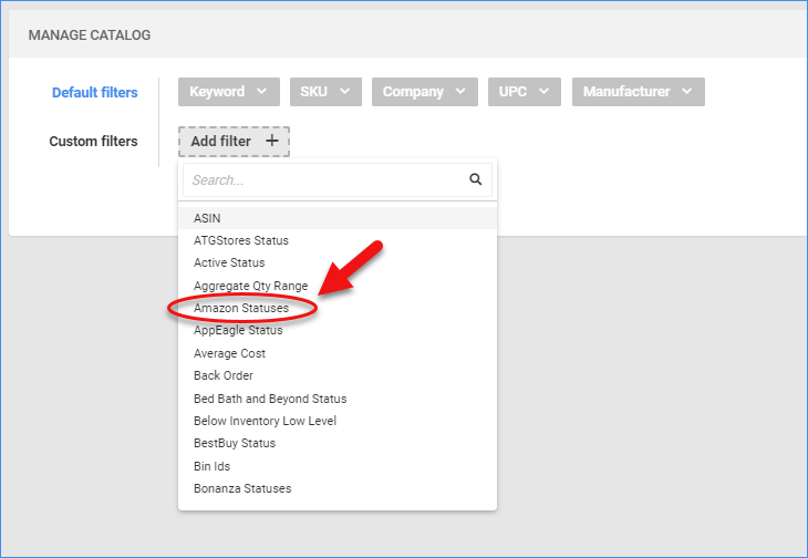 sellercloud manage catalog add filters amazon statuses