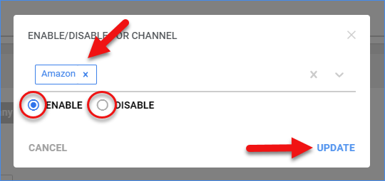 sellercloud action menu enable disable for channel update window