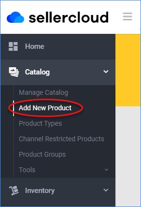 sellercloud add new product menu