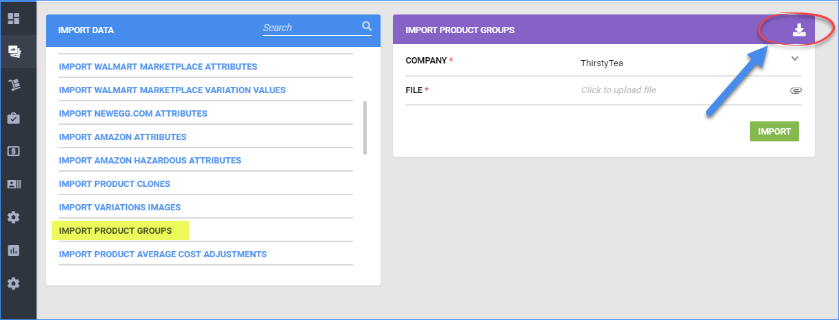 sellercloud download the template to import product groups