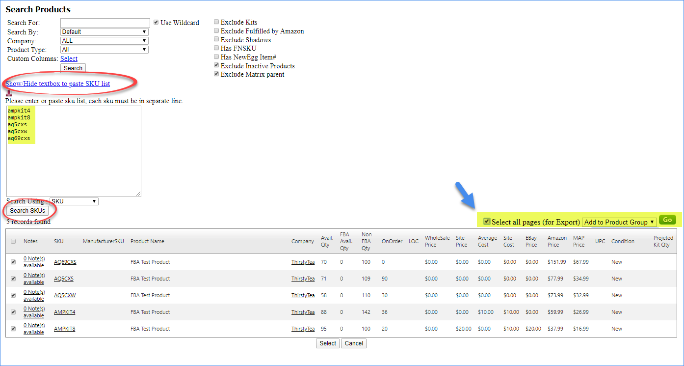 Copy and paste SKUs and click the action to add them to product group
